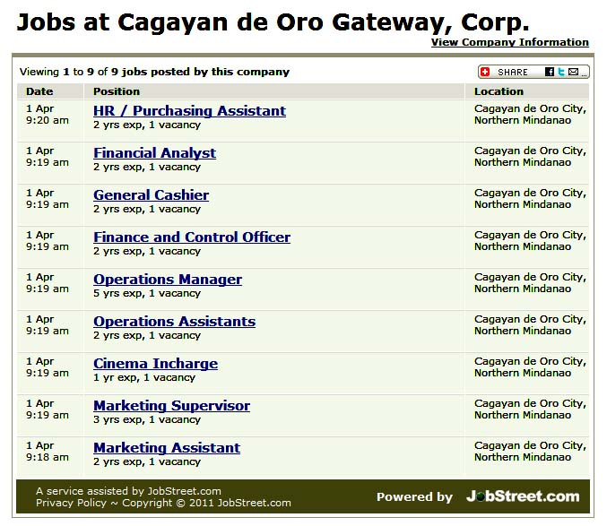 Talent Outsourcing Channel Solutions Cagayan de Oro, Northern Mindanao Amenable to work on dayshift, graveyard, shifting schedule, during holidays, and weekends. *Have the passion to work in the leading industry in the.